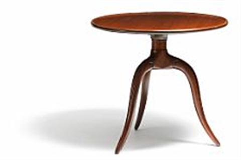 Awesome Circular Side Table Of Solid Mahogany By Frits Henningsen