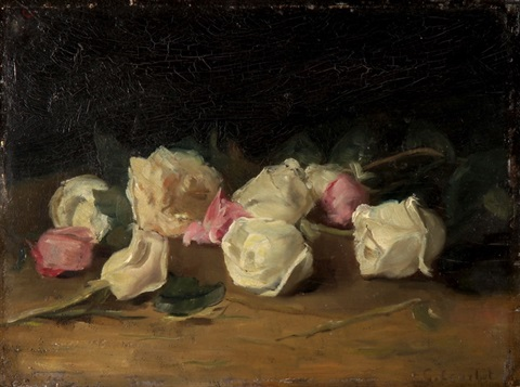 roses coupées blanches et roses by gustave courbet