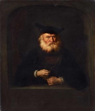 bärtiger mann mit barett eine medaille vorweisend by salomon koninck