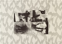 fernsehbild eishockey / obelisk / hände / häuserfront / in der oper / figur mit hand (6 works) by sigmar polke