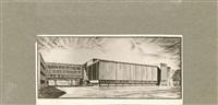 photographien diverser architekturzeichnungen, entwürfe und modelle (10 works, various sizes) by walter gropius