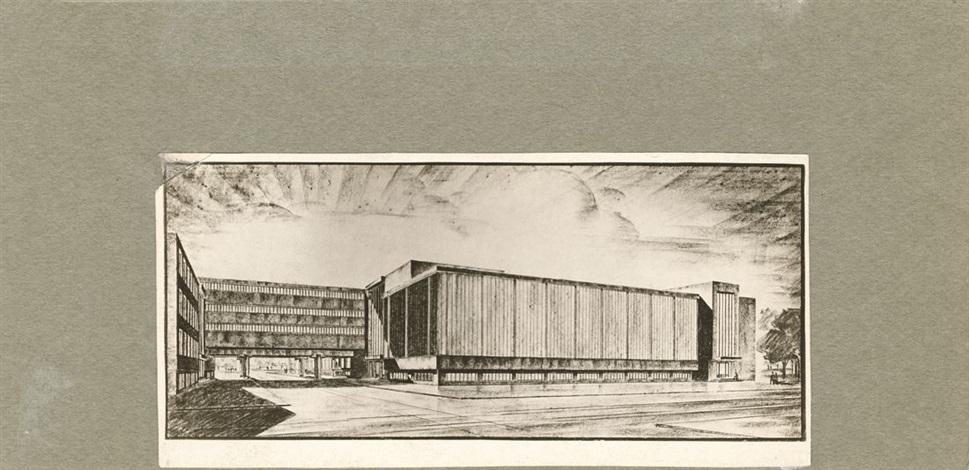 photographien diverser architekturzeichnungen entwürfe und modelle 10 works various sizes by walter gropius
