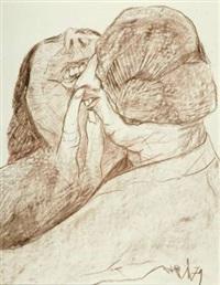 zwei frauen (+ sprechende hände, felt-tip pen; 2 works) by siegfried rischar
