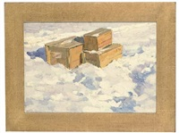 crates in the snow (+ 2 others; 3 works) by leonid petrovitch baikov