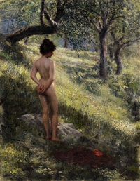 a nude in the forest by hermann moest