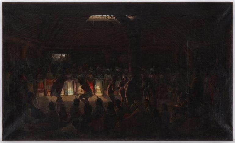 cérémonie rituelle tribue damérindiens by jules tavernier