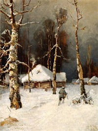 winter landscape, after julius klever by sergei antonov