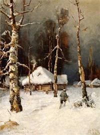 winter landscape, after julius klever by sergei antonov