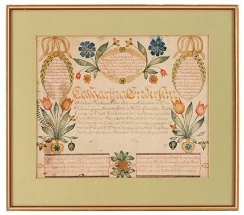 fraktur birth record for catharina enderlein dauphin county pa by charles e munch