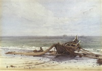 fisherman drying his nets by the shore by conrad h.r. corelli
