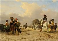 fischer und reiter am strand by joseph jodocus moerenhout