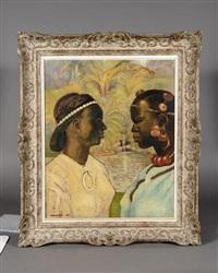 deux africaines dans la palmeraie by georges manzana-pissarro
