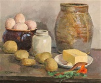 still life with fruit and eggs by eugene louis corneau