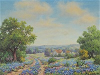 texas landscape with blue bonnets by louis jez