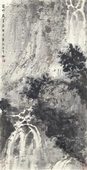 appreciating waterfall in the mountains by fu baoshi