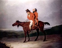 two men on horseback by j.f.s. young
