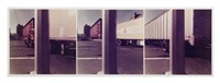 untitled, triptych (pole c, horizontal wh. line, 3 trucks) by jan groover
