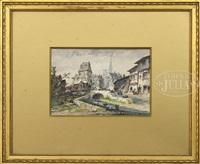 town scenes (2 works) by eugène galien-laloue