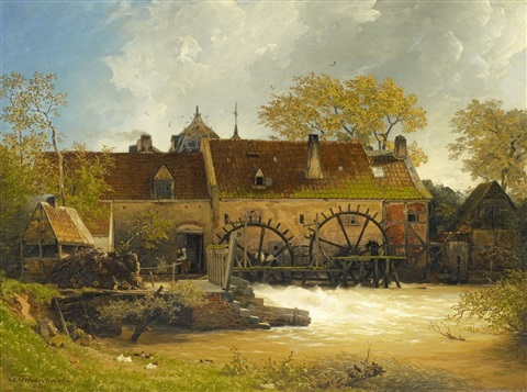 watermill at a river by andreas achenbach