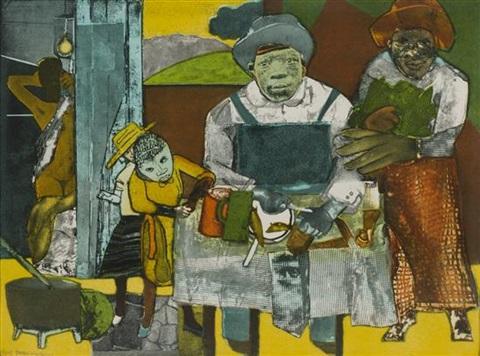 the family (from an american portrait, 1776-1976) by romare bearden