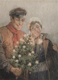 nordisches paar mit kleinem weihnachtsbaum by rudolf august hoeger