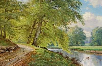 solskinsdag i skoven med store lovtræer ved en å by august jacobsen