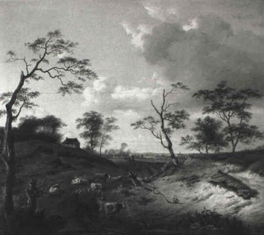hügellandschaft mit bäumen by nicaise de keyser