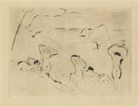 sechs badende frauen am strand (badende; aus: die schaffenden) by hans purrmann