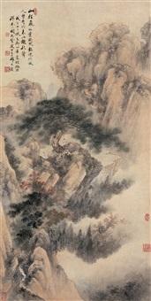 秋山晚晴图 (landscape) by qi dakui