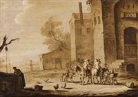 horsemen in a southern landscape by cornelis de bie