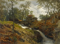 landscape with torrent by andreas achenbach