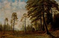 landskap med tallar samt räv med byte - kvällsdis by edouard alexandre alexis ankarcrona