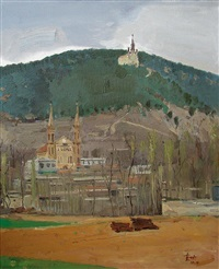 landscape with church by liu kegong