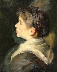 brustporträt einer jungen bäuerin im profil, das dunkle, geflochtene haar hochgesteckt by philipp fleischer
