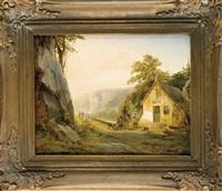 rastender jäger in einer bergigen landschaft mit pittoresker kleiner wassermühle by joseph jodocus moerenhout