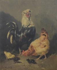 coqs et poules (pair) by henry schouten
