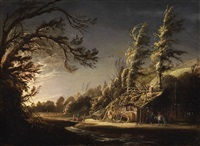 a wooded landscape with peasants and a donkey by joachim govertsz camphuysen