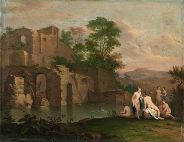 südliche ruinenlandschaft mit badenden by cornelis van poelenburgh