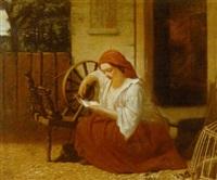 gårdexterior med siddende læsende ung kvinde by tommaso marino