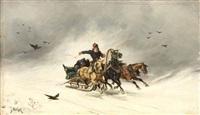 russischer troikafahrer in winterlandschaft by jan wolski