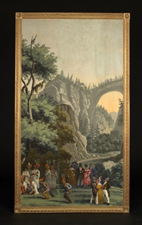natural bridge, virginia (from vues d'amerique du nord wallpaper panels) by jean zuber