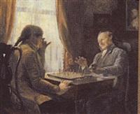interior med to herrer der spiller skak by oluf simony jensen