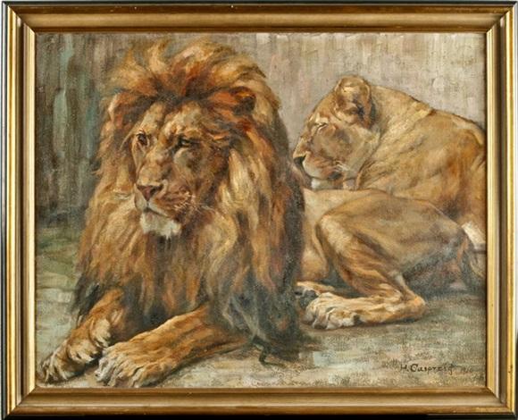 ruhendes löwenpaar by hedwig casprzig
