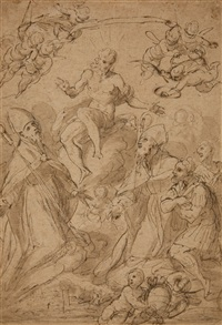 sketched design for an altarpiece by jacopo palma il giovane