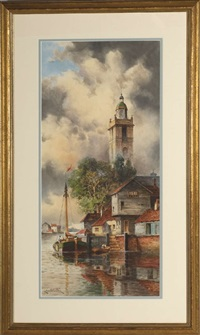 dutch canal with church tower by louis van staaten