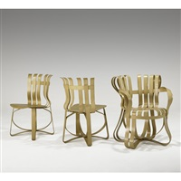 cross check chair (+ hat trick chairs (2 works); 3 works) by frank gehry