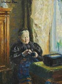 interior med gammel dame, der syr by gudbrand mellbye (mollbye)