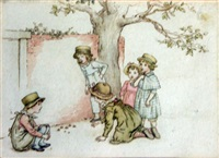 children playing five-stones by a red brick wall and a tree by kate greenaway
