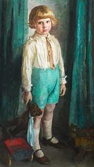 stående dreng med bamse og trækvogn (kunstnerens barnebarn?) by bertha dorph