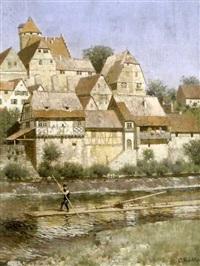 mittelalterliches städtchen an fluss mit stauwehr und holzflösser by carl röchling
